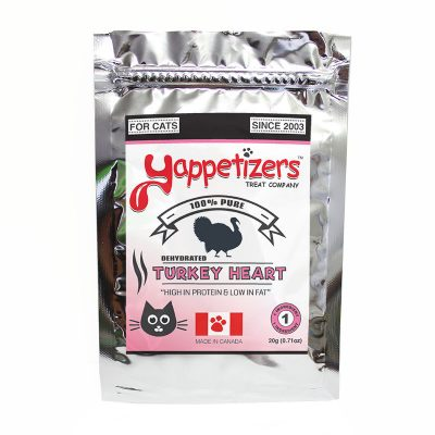 Yappetizers Cat Treats – Dehydrated Turkey Heart